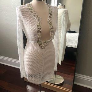 White cover up mini dress-embellished.